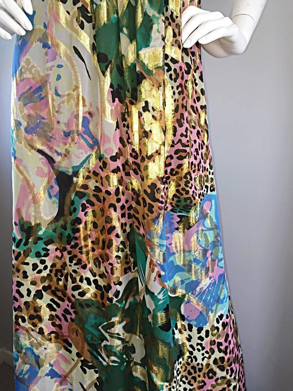 Vintage Oleg Cassini Multi Print Leopard Metallic Floral Abstract Empire Dress For Sale 1