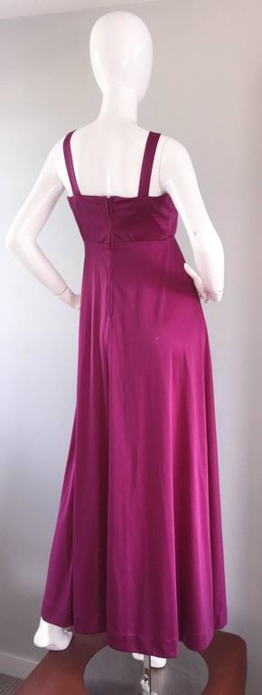 1970s Wine / Burgundy 70s Vintage Beaded Disco Maxi Dress w/ Matching Shrug For Sale 2