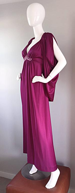 1970s Wine / Burgundy 70s Vintage Beaded Disco Maxi Dress w/ Matching Shrug In Excellent Condition For Sale In Chicago, IL