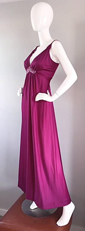 Women's 1970s Wine / Burgundy 70s Vintage Beaded Disco Maxi Dress w/ Matching Shrug For Sale