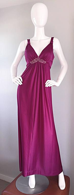 1970s Wine / Burgundy 70s Vintage Beaded Disco Maxi Dress w/ Matching Shrug For Sale 5