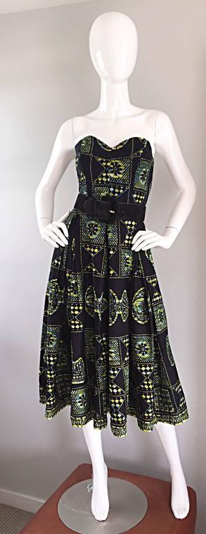 1950s Strapless Navy Blue Yellow Hawaiian Tribal Print
