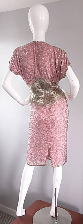 Gorgeous Vintage Oleg Cassini Pink + Silver Heavily Beaded Silk Dress  For Sale 1