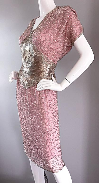 Brown Gorgeous Vintage Oleg Cassini Pink + Silver Heavily Beaded Silk Dress  For Sale