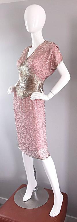 Gorgeous Vintage Oleg Cassini Pink + Silver Heavily Beaded Silk Dress  5