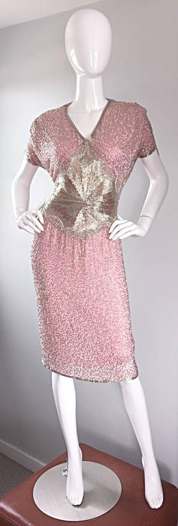 Gorgeous Vintage Oleg Cassini Pink + Silver Heavily Beaded Silk Dress  For Sale 2