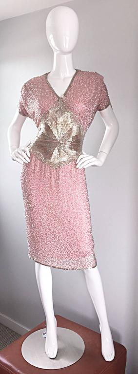 Gorgeous Vintage Oleg Cassini Pink + Silver Heavily Beaded Silk Dress  For Sale 4
