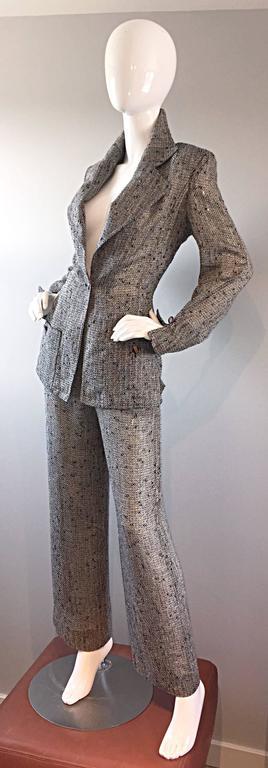 Jean - Louis Scherrer Coture Numbered Vintage Gray Le Smoking Pant Suit Ensemble For Sale 4