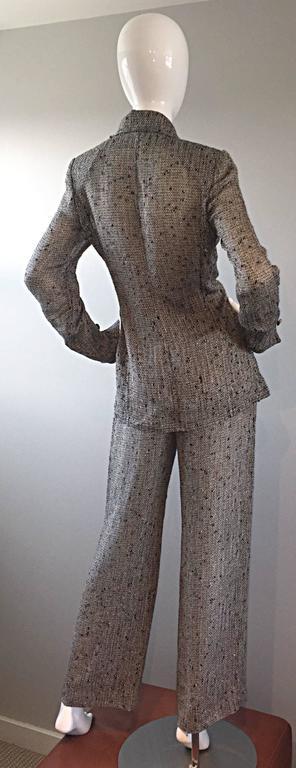 Jean - Louis Scherrer Coture Numbered Vintage Gray Le Smoking Pant Suit Ensemble For Sale 5