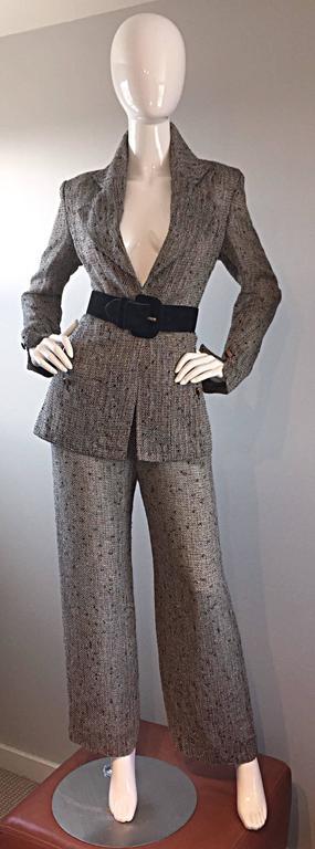 Jean - Louis Scherrer Coture Numbered Vintage Gray Le Smoking Pant Suit Ensemble For Sale 1