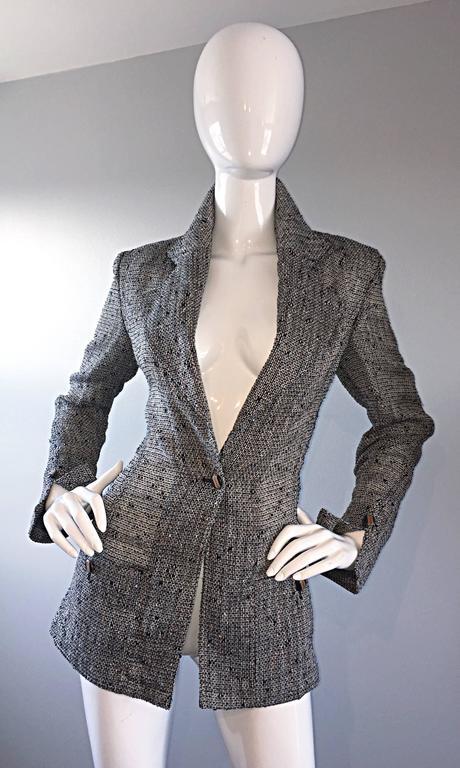 Jean - Louis Scherrer Coture Numbered Vintage Gray Le Smoking Pant Suit Ensemble For Sale 2