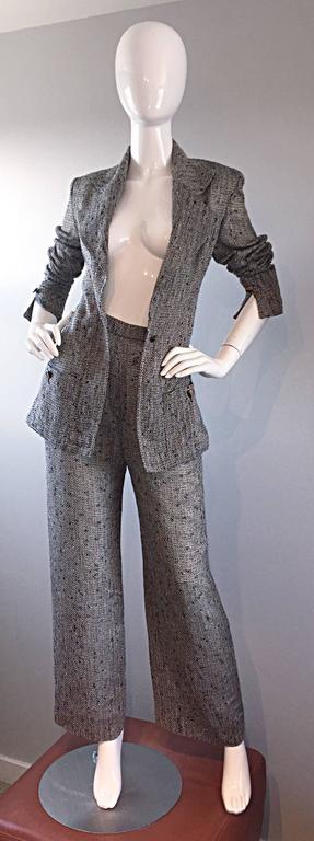 Women's Jean - Louis Scherrer Coture Numbered Vintage Gray Le Smoking Pant Suit Ensemble For Sale