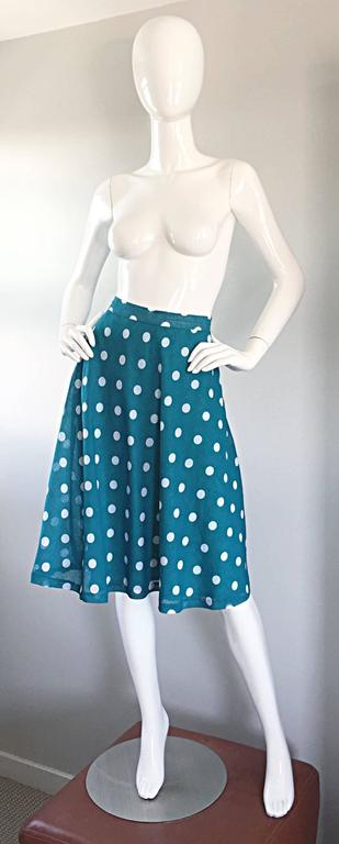 1950s Turquoise Blue + White Polka Dot Full Vintage 50s Cotton Voile Skirt  2