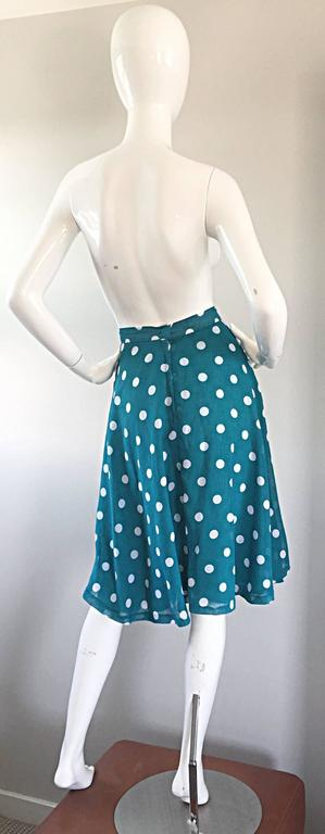 1950s Turquoise Blue + White Polka Dot Full Vintage 50s Cotton Voile Skirt  4
