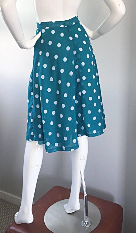 1950s Turquoise Blue + White Polka Dot Full Vintage 50s Cotton Voile Skirt  7