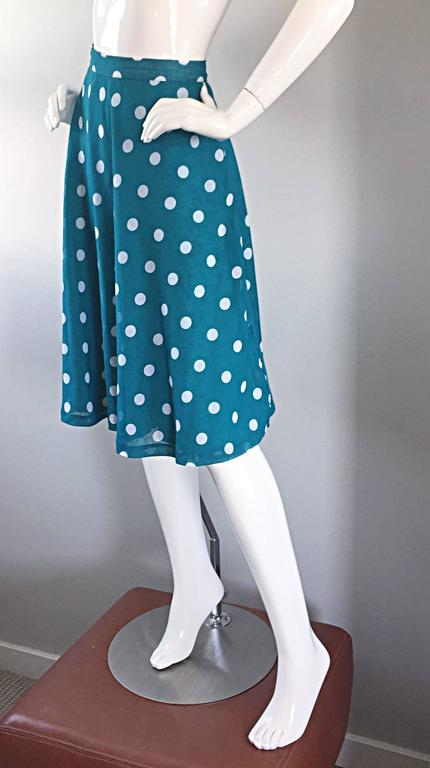 1950s Turquoise Blue + White Polka Dot Full Vintage 50s Cotton Voile Skirt  6