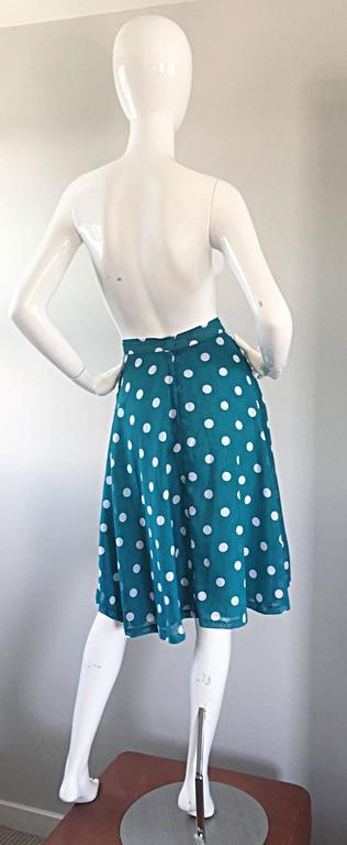 1950s Turquoise Blue + White Polka Dot Full Vintage 50s Cotton Voile Skirt  8