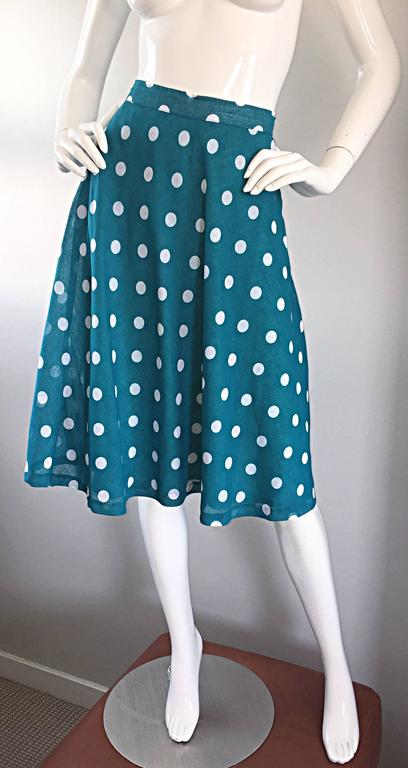 1950s Turquoise Blue + White Polka Dot Full Vintage 50s Cotton Voile Skirt  5