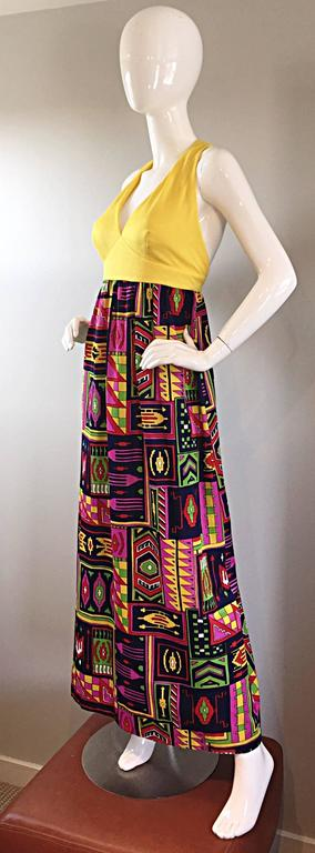 Women's Incredible 1970s Kelly Arden Colorful Yellow Vintage Maxi Dress + Fringed Shawl For Sale