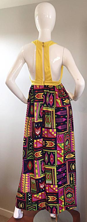Incredible 1970s Kelly Arden Colorful Yellow Vintage Maxi Dress + Fringed Shawl In Excellent Condition For Sale In San Francisco, CA