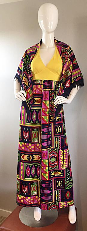 Incredible 1970s Kelly Arden Colorful Yellow Vintage Maxi Dress + Fringed Shawl For Sale 4