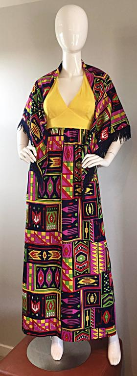 Beige Incredible 1970s Kelly Arden Colorful Yellow Vintage Maxi Dress + Fringed Shawl For Sale