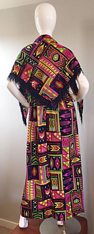 Incredible 1970s Kelly Arden Colorful Yellow Vintage Maxi Dress + Fringed Shawl For Sale 1
