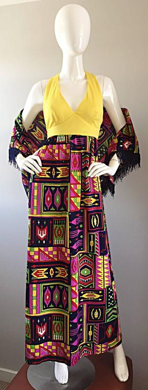 Incredible 1970s Kelly Arden Colorful Yellow Vintage Maxi Dress + Fringed Shawl For Sale 2
