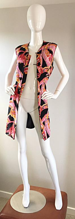 1960s 60s Psychedelic Asian Themed Colorful Mod Long Silk Vest or Mini Dress  For Sale 4