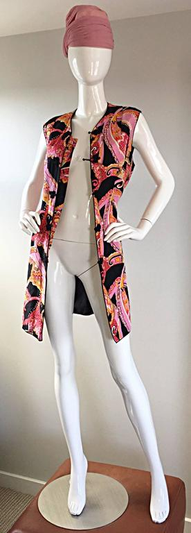 1960s 60s Psychedelic Asian Themed Colorful Mod Long Silk Vest or Mini Dress  In Excellent Condition For Sale In San Francisco, CA