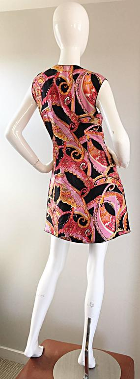 1960s 60s Psychedelic Asian Themed Colorful Mod Long Silk Vest or Mini Dress  6