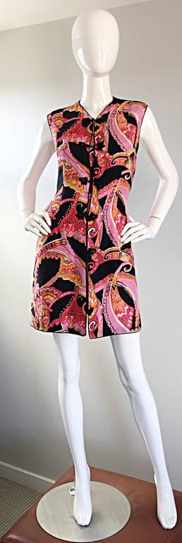 1960s 60s Psychedelic Asian Themed Colorful Mod Long Silk Vest or Mini Dress  10