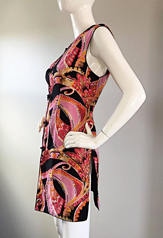 1960s 60s Psychedelic Asian Themed Colorful Mod Long Silk Vest or Mini Dress  5