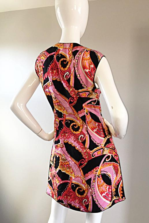 1960s 60s Psychedelic Asian Themed Colorful Mod Long Silk Vest or Mini Dress  For Sale 3