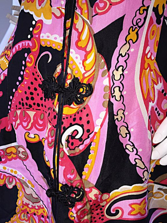 1960s 60s Psychedelic Asian Themed Colorful Mod Long Silk Vest or Mini Dress  3