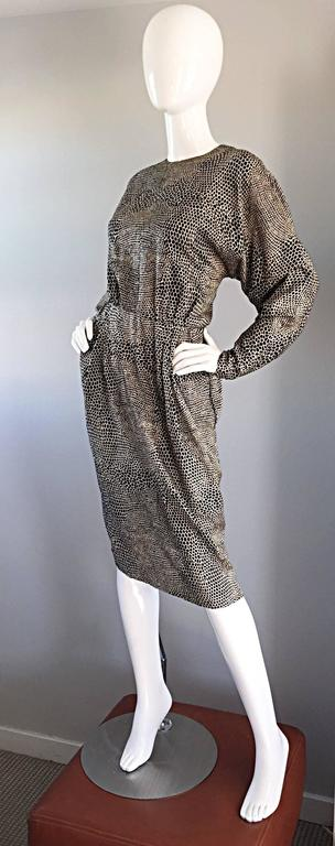 Adele Simpson for Neiman Marcus Vintage Lizard Print Black + Ivory Silk Dress For Sale 4