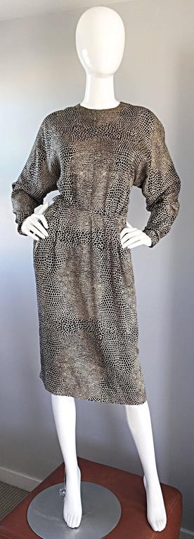 Adele Simpson for Neiman Marcus Vintage Lizard Print Black + Ivory Silk Dress For Sale 5