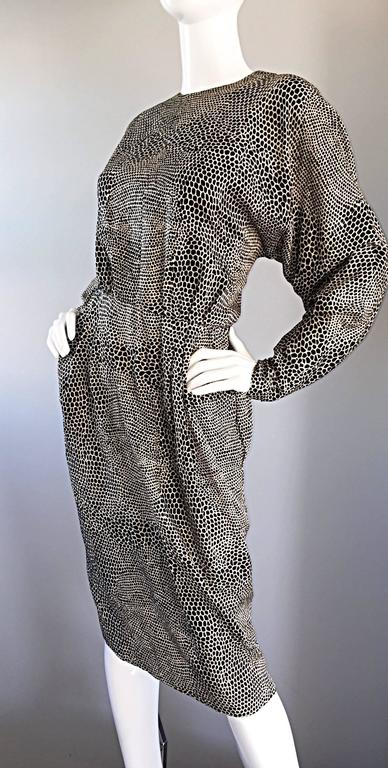 Adele Simpson for Neiman Marcus Vintage Lizard Print Black + Ivory Silk Dress For Sale 3