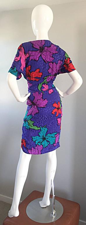 Vintage Flora Kung Purple Silk Colorful Tropical Kimono Style Wrap Dress  For Sale 3