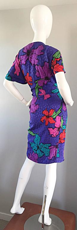 Vintage Flora Kung Purple Silk Colorful Tropical Kimono Style Wrap Dress  For Sale 2