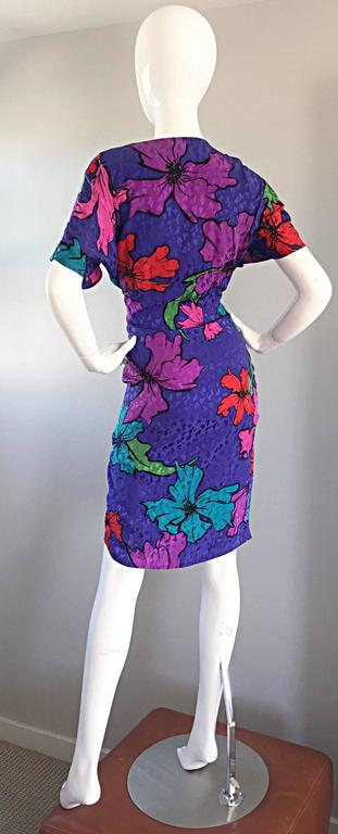 Women's Vintage Flora Kung Purple Silk Colorful Tropical Kimono Style Wrap Dress  For Sale