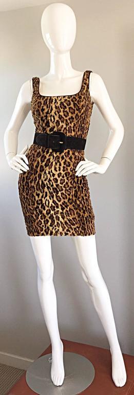 Sexy 1990s Tadashi Shoji Faux Fur Leopard BodyCon Cheetah Vintage 90s Dress 5