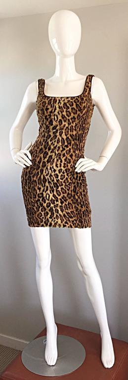 Sexy 1990s Tadashi Shoji Faux Fur Leopard BodyCon Cheetah Vintage 90s Dress 2