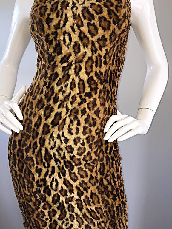 Sexy 1990s Tadashi Shoji Faux Fur Leopard BodyCon Cheetah Vintage 90s Dress 8