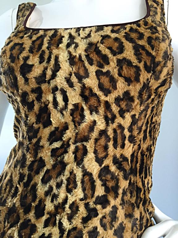 Sexy 1990s Tadashi Shoji Faux Fur Leopard BodyCon Cheetah Vintage 90s Dress 3