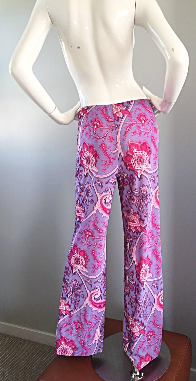 New Etro Purple Fuchsia Pink Paisley Print Wide Leg Silk