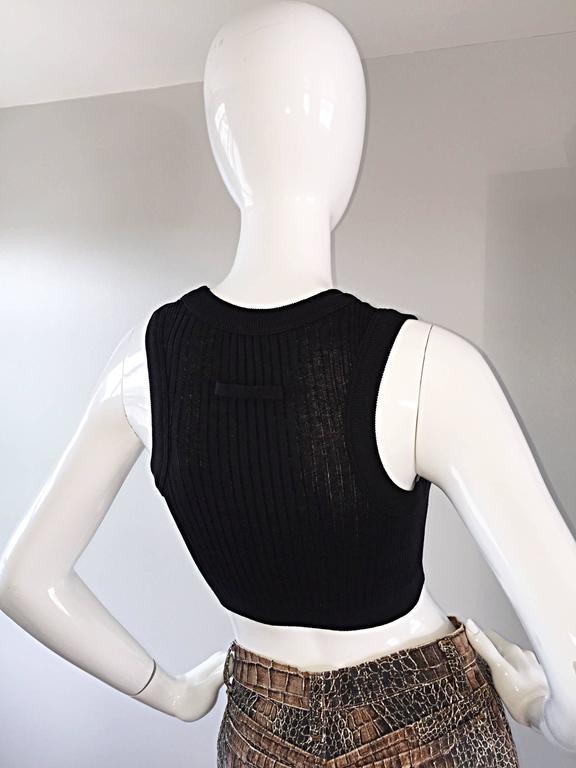 Jean Paul Gaultier Important Vintage Black Hand Crochet Crop Top Bodycon Tank  9