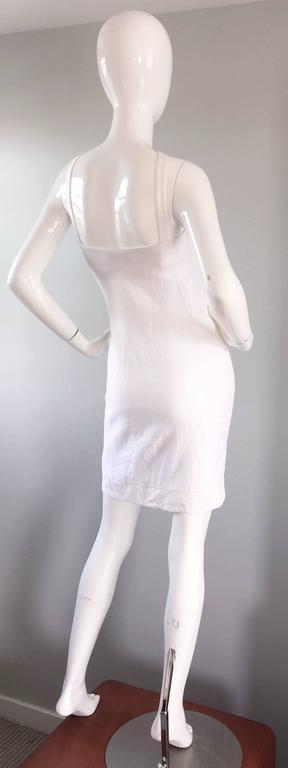 Rare 1990s Gianni Versace White Bondage BodyCon Vintage Dress w/ Medusa Harness 5