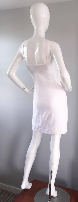 Rare 1990s Gianni Versace White Bondage BodyCon Vintage Dress w/ Medusa Harness 8