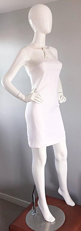 Rare 1990s Gianni Versace White Bondage BodyCon Vintage Dress w/ Medusa Harness In Excellent Condition For Sale In San Francisco, CA
